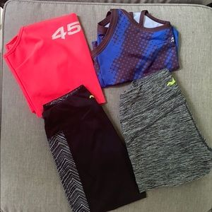 Bundle set of workout leggings and tops